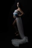 Έγκυο μπλε λουλούδι γυναικείων διαφανές υφασμάτων Στοκ εικόνες με δικαίωμα ελεύθερης χρήσης