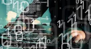 Έγκλημα χάκερ cyber, επίθεση υπολογιστών cyber, μέλλον της τεχνολογίας στοκ εικόνες με δικαίωμα ελεύθερης χρήσης