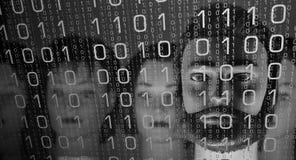 Έγκλημα Cyber στο ασφαλές δίκτυο, δυαδικός κώδικας Στοκ Εικόνα