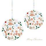 Έγχρωμη εικονογράφηση των σφαιρών Χριστουγέννων των εικονιδίων διανυσματική απεικόνιση