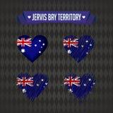 Έδαφος κόλπων Jervis Συλλογή τεσσάρων διανυσματικών καρδιών με τη σημαία Σκιαγραφία καρδιών διανυσματική απεικόνιση