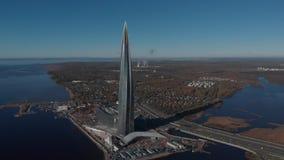 Έδρα κεντρικού Gazprom Lakhta ουρανοξυστών Χώρος Zenit σταδίων κόλπος της Φινλανδίας απόθεμα βίντεο