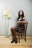 έδρα brunette Στοκ φωτογραφία με δικαίωμα ελεύθερης χρήσης