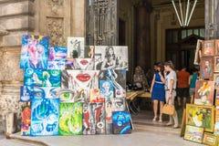 Έκθεση έργων ζωγραφικής γκαλεριών τέχνης στοκ εικόνες