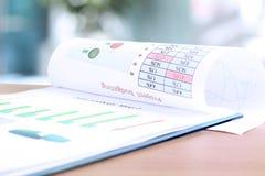 Έκθεση ανάλυσης επιχειρησιακών γραφικών παραστάσεων Σύνταξη προϋπολογισμού προγράμματος Στοκ Φωτογραφία