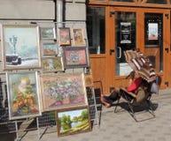 Έκθεση και πώληση τέχνης οδών και ο προμηθευτής του Στοκ Φωτογραφία