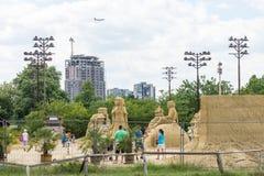 Έκθεση των αριθμών άμμου στο πάρκο παραλιών βουλγαρικού Burgas Στοκ εικόνα με δικαίωμα ελεύθερης χρήσης