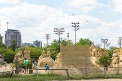 Έκθεση των αριθμών άμμου στο πάρκο παραλιών Burgas, Βουλγαρία Στοκ Εικόνες