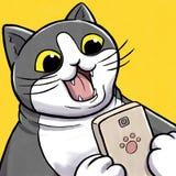 Έκπληκτη γάτα που εξετάζει Smartphone Στοκ Εικόνα