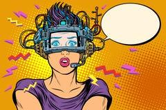 Έκπληκτη γυναίκα στα γυαλιά vr διανυσματική απεικόνιση