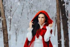Έκπληκτη κόκκινη οδηγώντας πριγκήπισσα κουκουλών στο χειμερινό δάσος Στοκ Φωτογραφίες