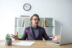 Έκπληκτος φωνάζοντας επιχειρηματίας Στοκ Εικόνα