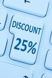 έκπτωσης 25% είκοσι πέντε κουμπιών δελτίων σε απευθείας σύνδεση τοις εκατό shopp πώλησης Στοκ φωτογραφίες με δικαίωμα ελεύθερης χρήσης