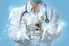 Έκπτωση έναρξης στο σε απευθείας σύνδεση φαρμακείο στοκ εικόνα