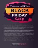 Έκπτωση -45 από τη μαύρη αφίσα Promo πώλησης Παρασκευής Στοκ εικόνα με δικαίωμα ελεύθερης χρήσης