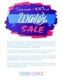 Έκπτωση - κείμενο σχεδίου ετικετών Promo πώλησης 45 χειμώνα Στοκ Εικόνες