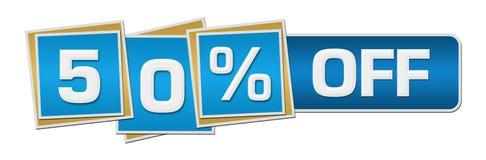 Έκπτωση πενήντα τοις εκατό από τον μπλε φραγμό τετραγώνων Στοκ εικόνα με δικαίωμα ελεύθερης χρήσης