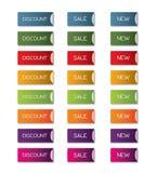 Έκπτωση, πώληση, νέο σύνολο κουμπιών Στοκ Εικόνες