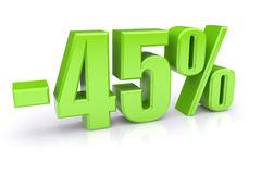 έκπτωση 45% σε ένα λευκό Στοκ Εικόνα