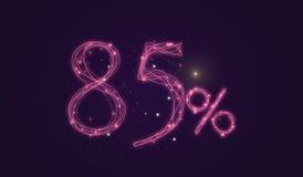 έκπτωση 85% - σημάδι πώλησης έκπτωσης - αριθμοί εικονιδίων αστεριών Στοκ Εικόνα