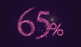 έκπτωση 65% - σημάδι πώλησης έκπτωσης - αριθμοί εικονιδίων αστεριών Στοκ Εικόνα