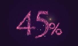έκπτωση 45% - σημάδι πώλησης έκπτωσης - αριθμοί εικονιδίων αστεριών Στοκ Φωτογραφίες