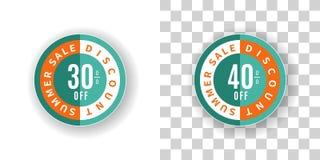 Έκπτωση τοις εκατό αυτοκόλλητων ετικεττών 30 και 40 θερινής πώλησης στο τυρκουάζ Στοκ Εικόνα