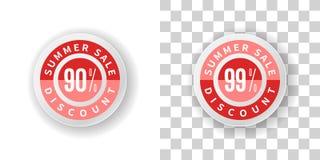 Έκπτωση τοις εκατό αυτοκόλλητων ετικεττών 90 και 99 θερινής πώλησης στο κόκκινο χρώμα Στοκ Εικόνες