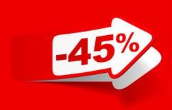 Έκπτωση 45 τοις εκατό - διάνυσμα αποθεμάτων Στοκ Εικόνες