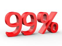 έκπτωση 99 τοις εκατό Κόκκινοι τρισδιάστατοι αριθμοί στο απομονωμένο άσπρο υπόβαθρο Στοκ εικόνα με δικαίωμα ελεύθερης χρήσης
