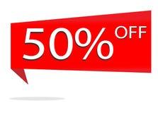Έκπτωση 50 τοις εκατό στο άσπρο υπόβαθρο Ειδικό κόκκινο πώλησης προσφοράς απεικόνιση αποθεμάτων