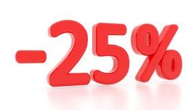 Έκπτωση 25 τοις εκατό τρισδιάστατος 25% Στοκ φωτογραφία με δικαίωμα ελεύθερης χρήσης