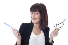 Έκπληκτη επιχειρηματίας με τα γυαλιά Στοκ Φωτογραφίες