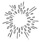 Έκρηξη ή αστέρι νερού που εκρήγνυται doodle απεικόνιση αποθεμάτων