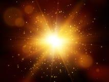 Έκρηξη αστεριών με τα σπινθηρίσματα Ελαφριά επίδραση Ο χρυσός ακτινοβολεί σύσταση Στοκ Εικόνες