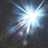 Έκρηξη λάμψης του φωτός αστεριών με τη θαμπάδα και την επίδραση φλογών φακών Να λάμψει πυράκτωση ήλιων Φως σπινθηρίσματος των ακτ ελεύθερη απεικόνιση δικαιώματος
