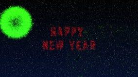 Έκρηξη πυροτεχνημάτων με καλή χρονιά που γράφει, ιδανικό μήκους σε πόδηα 4k για το νέο έτος διανυσματική απεικόνιση