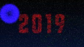 Έκρηξη πυροτεχνημάτων με την επιγραφή του 2019, ιδανικό μήκους σε πόδηα 4k για το νέο έτος διανυσματική απεικόνιση
