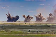 Έκρηξη σε ένα έδαφος στρατιωτικής εκπαίδευσης Στοκ Φωτογραφία