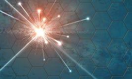 Έκρηξη σε ένα υπόβαθρο με hexagons Στοκ φωτογραφία με δικαίωμα ελεύθερης χρήσης