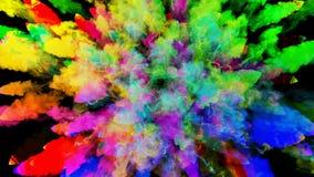 Έκρηξη της σκόνης που απομονώνεται στο μαύρο υπόβαθρο τρισδιάστατη ζωτικότητα των μορίων ως ζωηρόχρωμα αποτελέσματα υποβάθρου ή ε απεικόνιση αποθεμάτων
