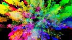 Έκρηξη της σκόνης που απομονώνεται στο μαύρο υπόβαθρο τρισδιάστατη ζωτικότητα των μορίων ως ζωηρόχρωμα αποτελέσματα υποβάθρου ή ε ελεύθερη απεικόνιση δικαιώματος