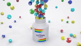 Έκρηξη των χαπιών βιταμινών από το μπουκάλι φαρμακείων διανυσματική απεικόνιση