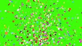 Έκρηξη Popper κόμματος κομφετί σε ένα πράσινο υπόβαθρο τρισδιάστατη ζωτικότητα φιλμ μικρού μήκους