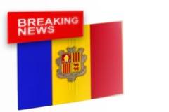 Έκτακτα γεγονότα, σημαία της χώρας της Ανδόρας και οι ειδήσεις επιγραφής στοκ εικόνες με δικαίωμα ελεύθερης χρήσης