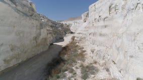 Έκταση του copter άσπρο φαράγγι Mangystau Καζακστάν φιλμ μικρού μήκους