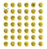 Έκφραση ποικιλίας του κίτρινου ειδώλου εικονιδίων χαμόγελου Στοκ εικόνα με δικαίωμα ελεύθερης χρήσης