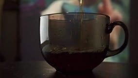 Έκχυση του μαύρου τσαγιού σε ένα φλυτζάνι γυαλιού ενάντια στην οθόνη κινηματογράφων σε αργή κίνηση βίντεο απόθεμα βίντεο