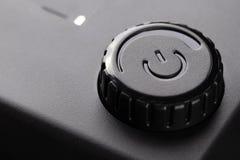 Έλεγχος δύναμης, μαύρες ηλεκτρονικές συσκευές κουμπιών διακοπτόμενα στοκ εικόνες