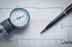 Έλεγχος υγείας με το tonometer και το καρδιογράφημα Στοκ εικόνες με δικαίωμα ελεύθερης χρήσης